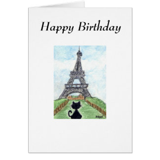 BLACK CAT EIFFEL TOWER BIRTHDAY CARD