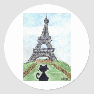 BLACK CAT EIFFEL TOWER CLASSIC ROUND STICKER