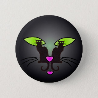 BLACK CAT FACE by SHARON SHARPE 2 Inch Round Button