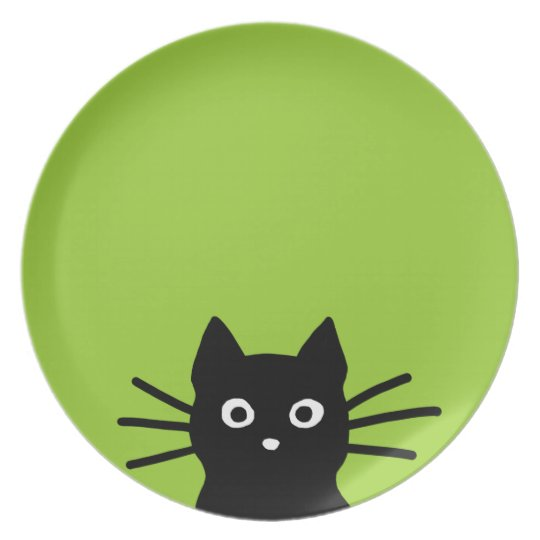 Black Cat Face on Green (Colour is Customizable) Plate