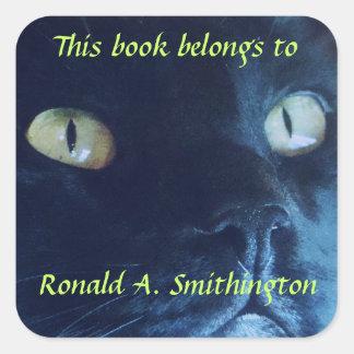 Black Cat Face Personalized Bookplate Square Sticker