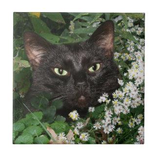 Black cat face tile