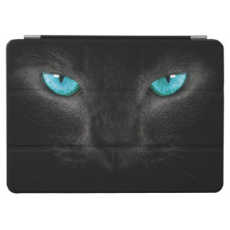 Black Cat Face with Turquoise Eyes iPad Air Cover