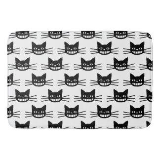 Black Cat Faces Pattern Bathroom Mat