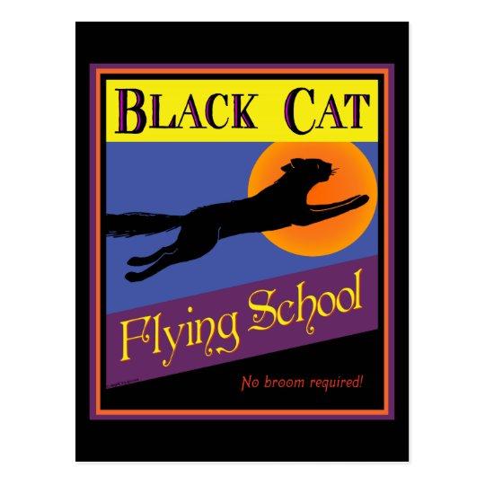 Black Cat Flying School Vintage Halloween Postcard