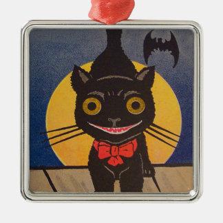 Black Cat Full Moon Bat Silver-Colored Square Ornament