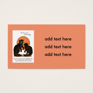 Black Cat Full Moon Orange Black Business Card