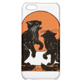 Black Cat Full Moon Orange Black iPhone 5C Cover