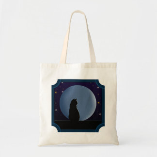 Black Cat, Full Moon, Stars Tote Bag