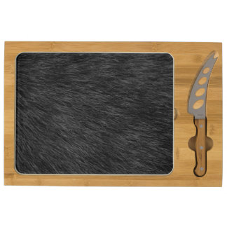 BLACK CAT FUR ROUND CHEESE BOARD