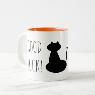 Black Cat Good Luck Funny Silhouette Minimal Cool Two-Tone Coffee Mug