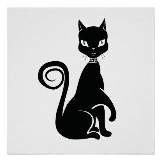Black cat gothic posters