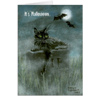 Black Cat Graveyard Bats Moon, It's Halloween... Card
