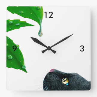 Black Cat Green leaves Print 1 Wallclocks