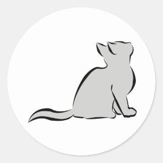 Black cat, grey fill classic round sticker
