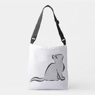 Black cat, grey fill crossbody bag