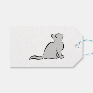 Black cat, grey fill gift tags