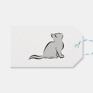 Black cat, grey fill, inside text gift tags