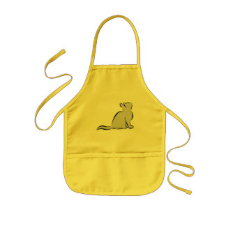 Black cat, grey fill, inside text kids apron