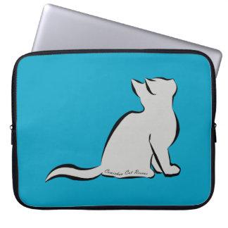 Black cat, grey fill, inside text laptop sleeve