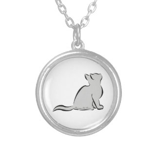 Black cat, grey fill, inside text silver plated necklace
