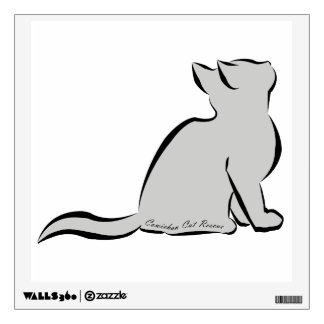 Black cat, grey fill, inside text wall decal