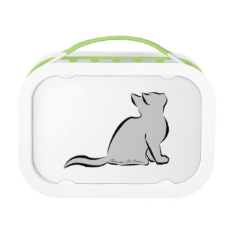 Black cat, grey fill, inside words lunch box