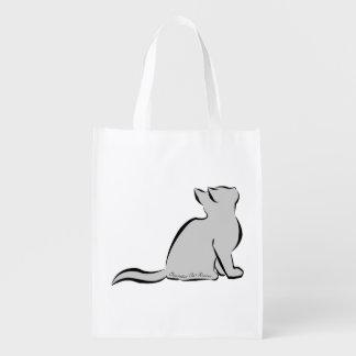 Black cat, grey fill, inside words reusable grocery bag