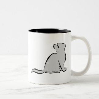 Black cat, grey fill, inside words Two-Tone coffee mug