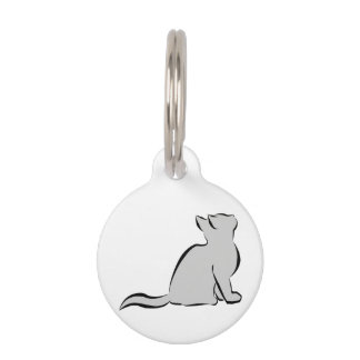 Black cat, grey fill pet tag