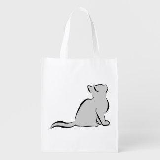 Black cat, grey fill reusable grocery bag