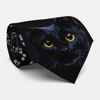 Black Cat Grey Paw Prints Necktie