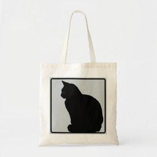 Black Cat Grey Tote Bag