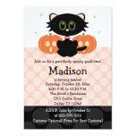 Black Cat Halloween Birthday Invitations