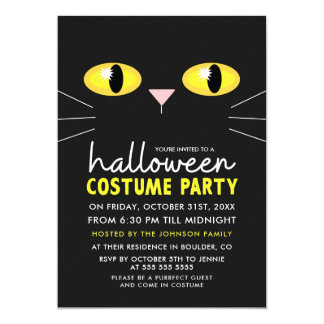 Black Cat Halloween Costume Party Card