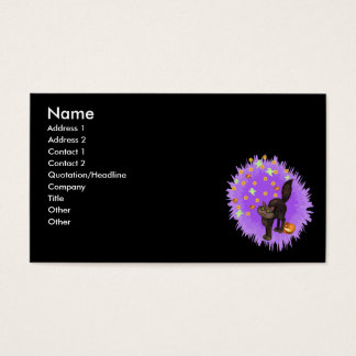 Black Cat Halloween Fireworks Custom Business Card