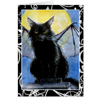 Black Cat Halloween gargoyle greeting card