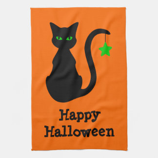 Black Cat Halloween Kitchen Towel
