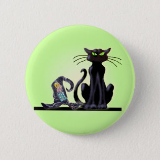 BLACK CAT & HAT by SHARON SHARPE 2 Inch Round Button