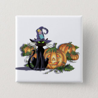 BLACK CAT, HAT & JACK by SHARON SHARPE 2 Inch Square Button
