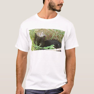 Black Cat Hiding in Grass T-Shirt