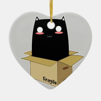 Black Cat in a Box Ceramic Ornament