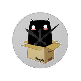 Black Cat in a Box Round Clock