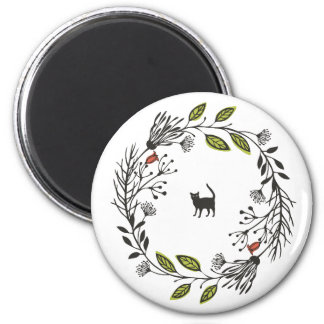Black Cat in a Wreath | Magnet