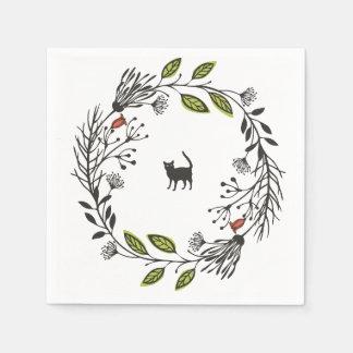 Black Cat in a Wreath | Napkin