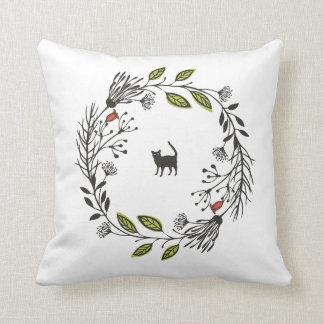 Black Cat in a Wreath | Throw Pillow