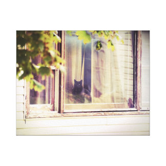 Black Cat in Dirty Window Vintage Style Photo Canvas Print