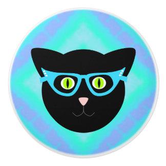 Black Cat in Glasses on Tie-Dye Ceramic Knob