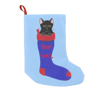 Black Cat in Red and Blue Christmas Stocking