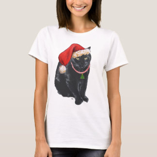 Black Cat in Santa Hat T-Shirt